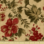 Double Chocolat Cotton Fabric - Floral - Natural 3835-34