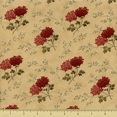 Double Chocolat Cotton Fabric - Floral Toss - Natural 4092-14