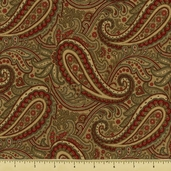 Double Chocolat Cotton Fabric - Paisley - Natural 3839-45