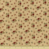 Double Chocolat Cotton Fabric - Small Floral - Natural 3844-24