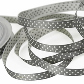 Double Sided Polka Dot Ribbon 3/8in. - White/ Silver - 27.5yds
