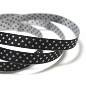 Double Sided Polka Dot Ribbon 3/8in. - Black/ White - 27.5yds