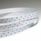 Polka Dotted Grosgrain Ribbon 1/4in.- White/ Blue - 27.5yds