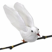 Dove Flying Artificial Feather Bird 6in. - Pkgs of 3