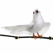 Dove Flying Artificial Feather Bird 6in. - Sparkle - Pkgs of 3