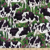 Down on the Farm Cows Cotton Fabric - Green ADO-8346-7 GREEN - CLEARANCE