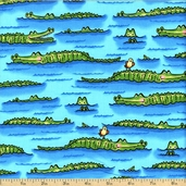 Down Under Cotton Fabric - Blue 05248-84