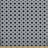 Downtown Dot Check Cotton Fabric - Grey