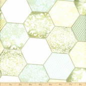 Downtown Lace Octagon Patchwork Cotton Fabric - Green