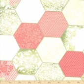 Downtown Lace Octagon Patchwork Cotton Fabric - Rose