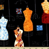 Dress Up 2 Cotton Fabric - Dress Forms - Bright