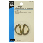 Dritz D-Rings 4ct 1in - Gold