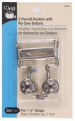 Dritz Overall Buckles with No-Sew Buttons - Nickel