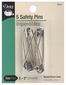 Dritz Safety Pins 5ct Size 3 - Nickel