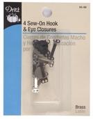Dritz Sew-On Hook and Eye Closure 4ct - Silver