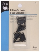 Dritz Sew-On Hook and Eye Closures 4ct - Black