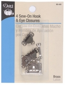 Dritz Sew-On Hook and Eye Closures 4ct - Silver