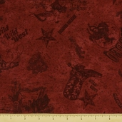 Dusty Trails Cotton Fabric - Red