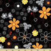 Earth, Wind and Fire  Cotton Fabric - Floral Toss - Black 3911-60550-4
