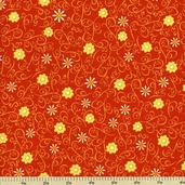 Earth, Wind and Fire Cotton Fabric - Floral Vine - Orange 3911-60551-7