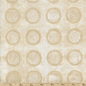 Earthtones Circles Cotton Fabric - Natural
