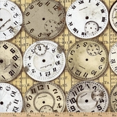 Eclectic Elements Time Pieces Cotton Fabric - Neutral