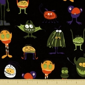 Eerie Alley 3 Cotton Fabric - Creepy Characters - Black