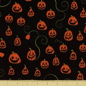 Eerie Alley 3 Cotton Fabric - Jack-O-Lanterns - Black - CLEARANCE