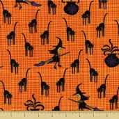 Eerie Alley 3 Cotton Fabric - Witches Brew - Orange