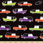 Eerie Alley Hearse Cotton Fabric - Bright