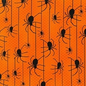 Eerie Alley Spider Cotton Fabric - Pumpkin