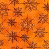 Eerie Alley Web Cotton Fabric - Pumpkin - CLEARANCE