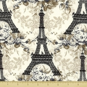 Eifel Flower Cotton Fabric - Tower Toss - Black