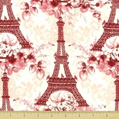 Eifel Flower Cotton Fabric - Tower Toss - Coral