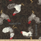 El Gallo Rooster Cotton Fabric - Black