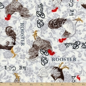 El Gallo Rooster Cotton Fabric - Ivory