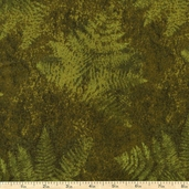 Elements Leaf Imprint Cotton Fabric - Brown