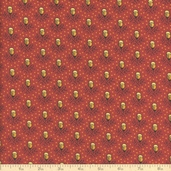 Elizabethtown Calico Rose Cotton Fabric - Rust