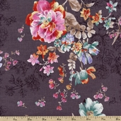 Elle Bouquet Floral Cotton Fabric - Grey 1649-22723-K