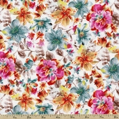 Elle Packed Floral Cotton Fabric - Ecru 1649-22724-E