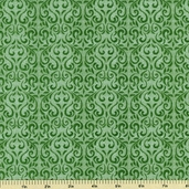 Embroidered Garden Cotton Fabric - Green Damask