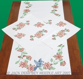 Jack Dempsey Scarf and Doilies Set - Perle Edge - Birds