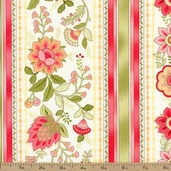 Emma Border Stripe Cotton Fabric - Coral