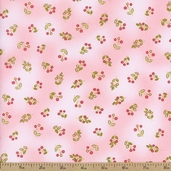 Emma Tossed Berries Cotton Fabric - Pink