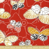 Emperor's Garden Cotton Fabric - Butterfly Toss - Orange - Clearance
