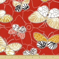 Emperor's Garden Cotton Fabric - Butterfly Toss - Orange