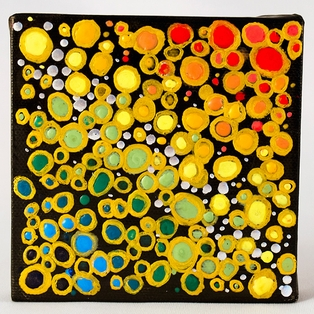 Encaustic Dots on Black Canvas