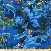 Enchanted Waters Dolphins Cotton Fabric - Blue