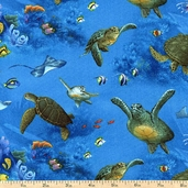 Enchanted Waters Turtles Cotton Fabric - Blue