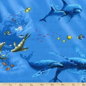 Enchanted Waters Whales Cotton Fabric - Blue